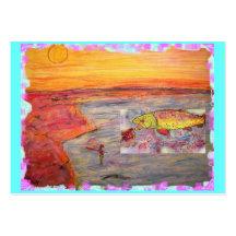 art de coucher du soleil de pêche de mouche modèles de cartes de visite