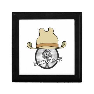 art de cowboy de Midwest Petite Boîte À Bijoux Carrée