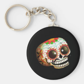 Art de crâne de Dia de Los Muertos Sugar Porte-clé Rond