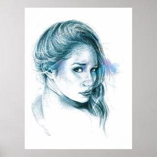 Art de crayon de portrait de fille dans la copie posters