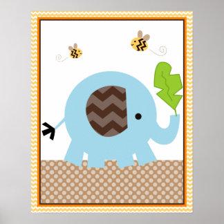 Art de crèche de bébé d'éléphant de pile de jungle affiche