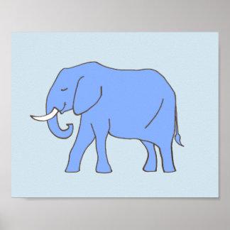 Art de crèche d'éléphant de bébé dans le bleu posters
