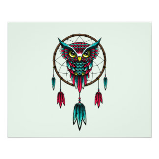 Art de Dreamcatcher d'oiseau de hibou Prospectus 11,4 Cm X 14,2 Cm