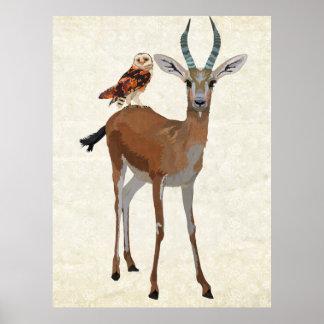Art de gazelle et de hibou poster