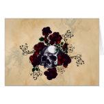 Art de Goth de style de tatouage de crâne et de ro Carte De Vœux