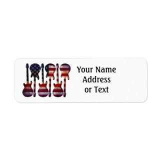 Art de guitare de drapeau américain étiquette d'adresse retour