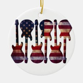 Art de guitare de drapeau américain ornement rond en céramique