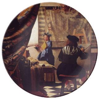 Art de la peinture par Johannes Vermeer Assiettes En Porcelaine