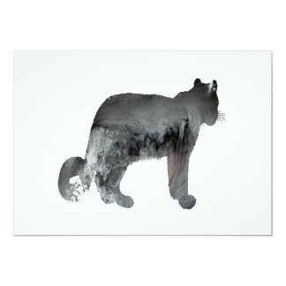 Art de léopard de neige carton d'invitation  12,7 cm x 17,78 cm