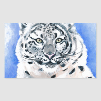 Art de léopard de neige sticker rectangulaire