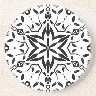 Art de mandala de concepteurs : blanc noir dessous de verre