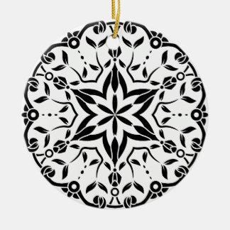 Art de mandala de concepteurs : blanc noir ornement rond en céramique
