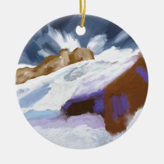Art de montagnes d'hiver ornement rond en céramique