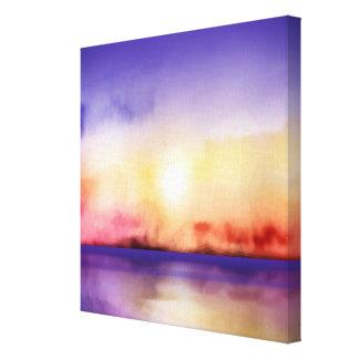 Art de mur - coucher du soleil et mer d'aquarelle toile