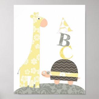 Art de mur de crèche (alphabets de tortue de giraf poster