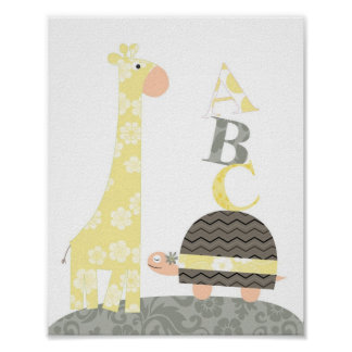 Art de mur de crèche (alphabets de tortue de giraf posters