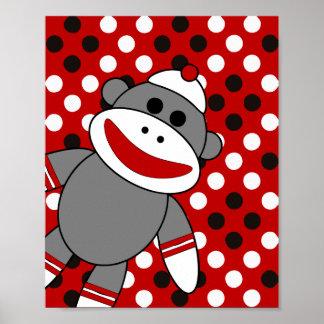 Art de mur de crèche de singe de chaussette posters