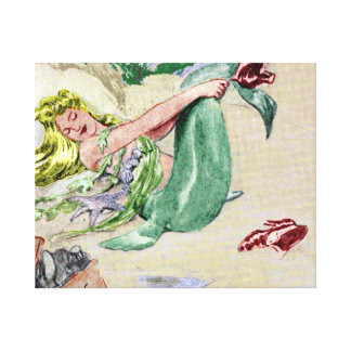 Art de mur de toile enveloppé par sirène vintage impressions sur toile