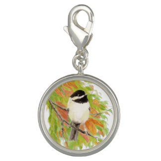 Art de nature animale d'oiseau de Chickadee Breloque Avec Photo