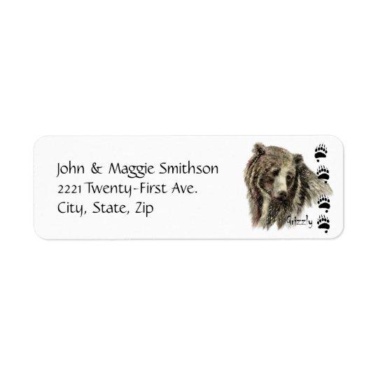 Art de nature de faune d'ours gris d'aquarelle étiquette d'adresse retour