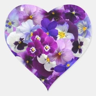 Art de papier peint de fleur de pensée sticker cœur