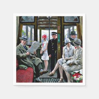 Art de Paul-Gustave Fischer - tram de Copenhague Serviette En Papier