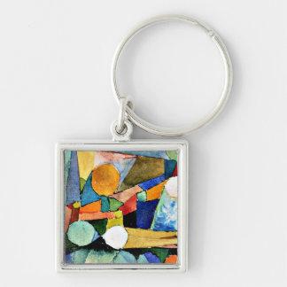 Art de Paul Klee : Couleur-Formes Porte-clé Carré Argenté