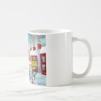 Art de peinture à l'huile de train d'hiver de scèn tasse à café