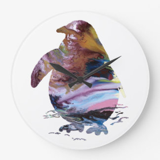 Art de pingouin grande horloge ronde