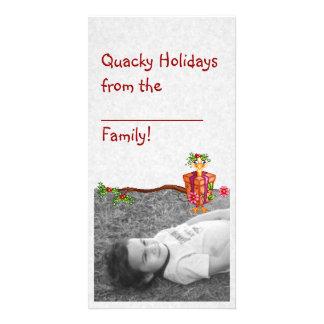 Art de pixel de canards de vacances de Quacky Cartes De Vœux Avec Photo