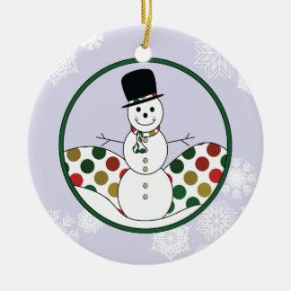 Art de Polkadot de bonhomme de neige de Noël avec Ornement Rond En Céramique