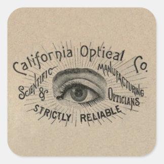 Art de publicité antique d oeil autocollant carré