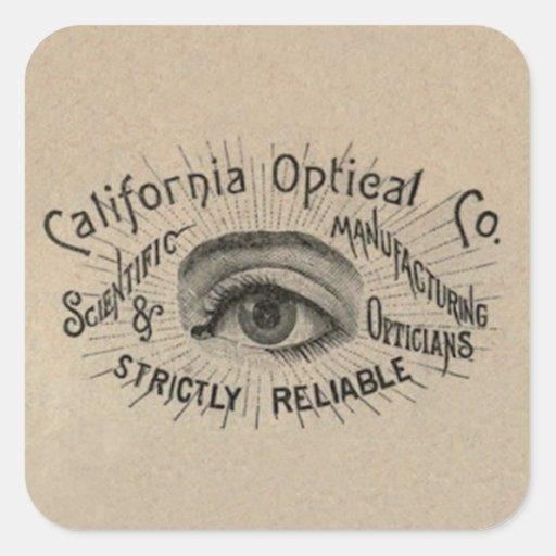 Art de publicité antique d'oeil autocollants carrés