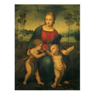 Art de Renaissance, Madonna du chardonneret, Carte Postale