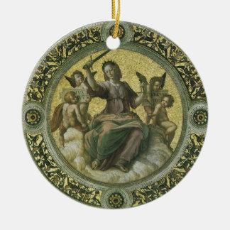 Art de Renaissance vintage, justice par Raphael Ornement Rond En Céramique