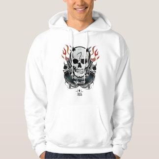 Art de tatouage de crâne et de flammes du peloton veste à capuche