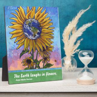 Art de terre de tournesol plaque photo