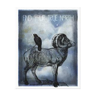 Art de toile de moutons et de corneille de Big