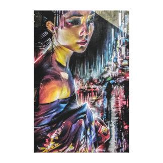 Art de toile de nuit de ville de Tokyo de geisha