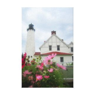 Art de toile de phare et de fleurs du Michigan
