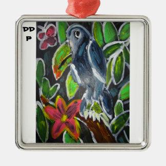 Art de toucan de forêt tropicale ornement carré argenté