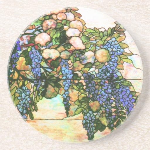Art de vigne de glycines de fenêtre en verre teint dessous de verres
