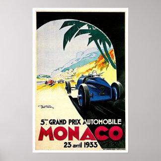 Art de voyage de course de voiture du Monaco Grand Poster