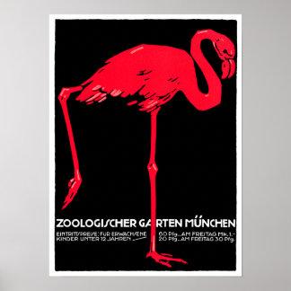 Art de voyage de flamant de jardin de zoo de Munic Affiche