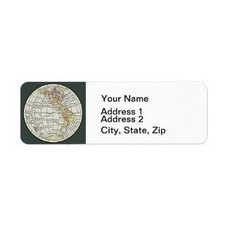 Art de voyage de globe de carte d'hémisphère de étiquette d'adresse retour