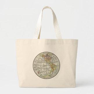 Art de voyage de globe de carte d'hémisphère de grand tote bag