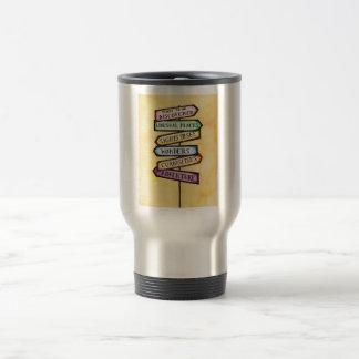 Art de voyage de plaque de rue d'aventure mug de voyage en acier inoxydable