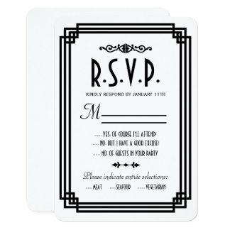 Art déco blanc et noir simple épousant des cartes carton d'invitation 8,89 cm x 12,70 cm
