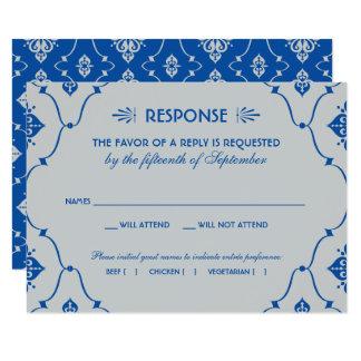 Art déco de bleu royal de la carte | du mariage