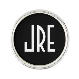 Art déco décoré d'un monogramme | noir et blanc pin's